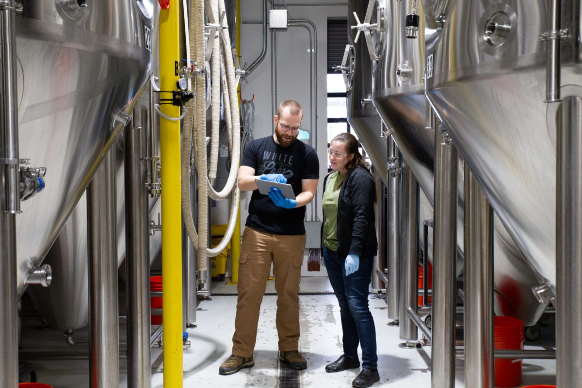 Brewery production area, staff using Ekos